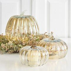 Autumn Pumpkin Glass Cloche Set of 3