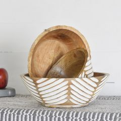 Patterned Wood Bowl Collection Set of 3