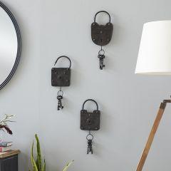 Decorative Dark Metal Lock And Key Set of 3