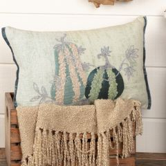 Fall Farmhouse Embroidered Gourd Accent Pillow