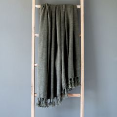 Fringed Washed Linen Throw Blanket