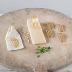 Brass Finished Fork Cheese Markers Set of 6