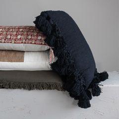 Crochet And Tasseled Slub Pillow With Fringe
