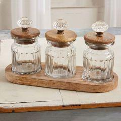 4 Piece Glass Knob Condiment Set