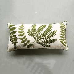Fern Embroidered Cotton Pillow