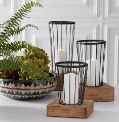 Metal Basket Candle Lantern Set of 3