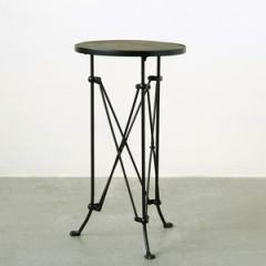 Pine Wood Top Side Table With Intricate Metal Legs