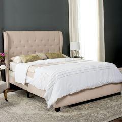 Linen Upholstered Bed Full