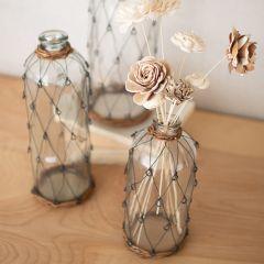 Wrapped Glass Bottle Vase Set of 3