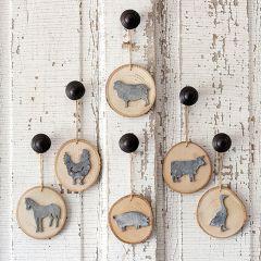 Wood Slice Farm Animal Ornaments Set of 6