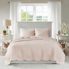 3 Piece Scalloped Coverlet Set