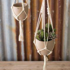 Boho Macrame Hangers With Planters Set of 4