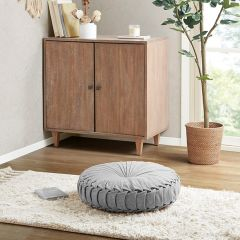Cozy Cottage Round Floor Cushion Grey