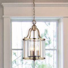 Brass Framed Glass Lantern Pendant