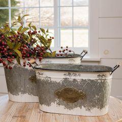 Rustic Garden Tub Planter Set of 2