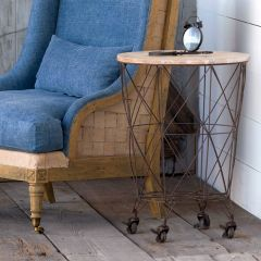 Rolling Wire Basket Accent Table