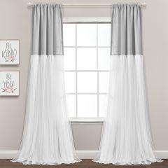 Elegant Color Block Curtain Panels Set of 2