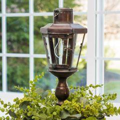 Aged Solar Pedestal Lantern