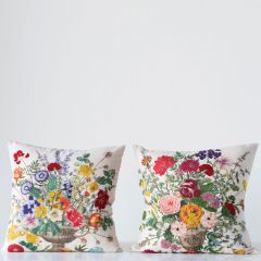 Embroidered Floral Throw Pillow Set of 2