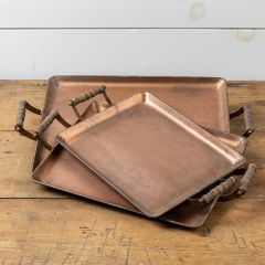 Rectangle Copper Tray With Handles Set of 3