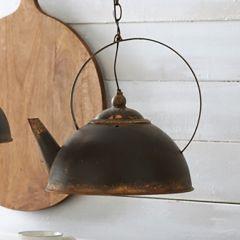 Rustic Metal Teapot Light Fixture 15 Inch