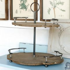2-Tier Scalloped Wood And Metal Serving Tray