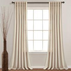Button Linen Pinch Pleat Curtain Panel Set of 2