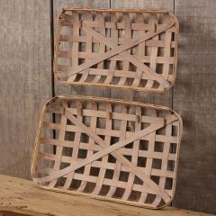Bamboo Tobacco Basket With Clips Set of 2
