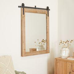 Barn Door Style Wood and Metal Mirror
