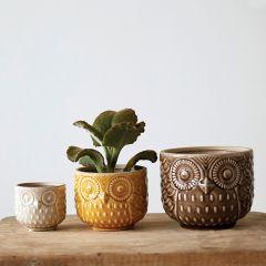 Barn Owl Stoneware Planter Pots, Set of 3