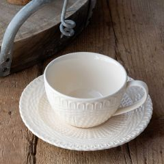 Basketweave Creamware Cup And Saucer