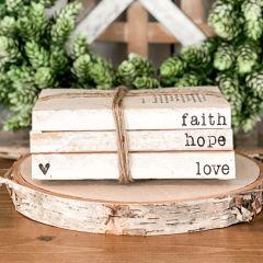 Faith Hope Love Decorative Book Stack