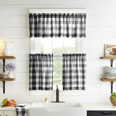 Black and White Buffalo Check Valance and Tier Curtain Collection