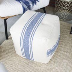 Cotton Canvas Pouf With Blue Stripes
