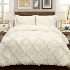 Ivory Ruffle Comforter Set 3 Pieces