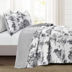 3 Piece Reversible French Country Toile Quilt Set