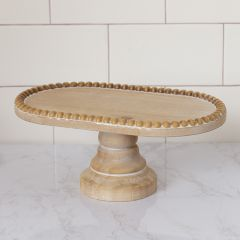 Beaded Oval Pedestal Display Tray