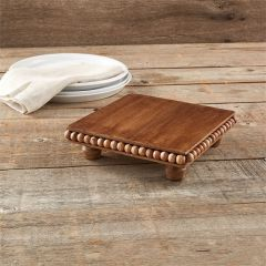 Beaded Wood Footed Trivet