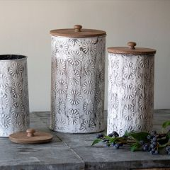 Floral Detailed Lidded Nesting Canisters Set of 3