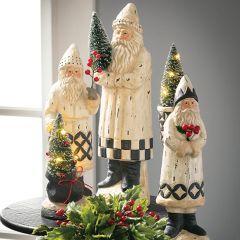Belsnickel Santa With LED Tree Set of 2
