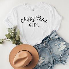 Chippy Paint Girl White Tee