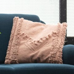 Applique And Fringe Embroidered Throw Pillow