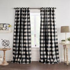 Black and Linen Buffalo Check Room Darkening Curtain Panel Set of 2 52x84