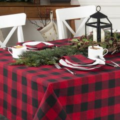 Black and Red Classic Buffalo Check Table Cloth