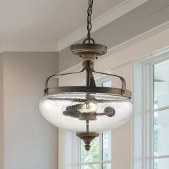 Black Metal Farmhouse Hanging Light With Finial