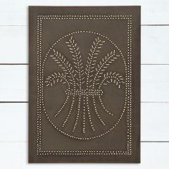 Blackened Tin Vertical Wheat Wall Panel Decor