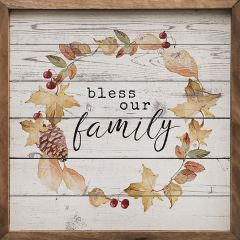 Bless Our Family Pinecone Wreath Whitewash Wall Art