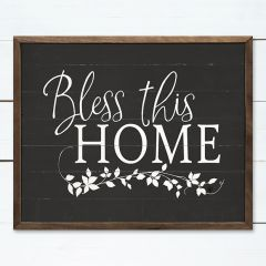 Bless This Home Greenery Black Wall Art