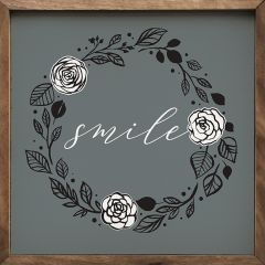Blue Print Smile Wreath Wall Sign
