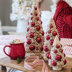 Bottlebrush Trees With Ornaments Set of 3